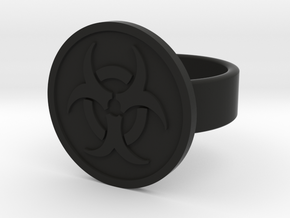 Biohazard Ring in Black Natural Versatile Plastic: 8 / 56.75
