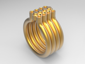 DOT RING - SIZE 8  in Polished Gold Steel