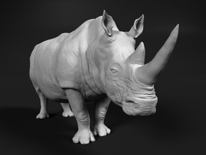 White Rhinoceros 1:48 Walking Male in White Natural Versatile Plastic