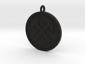 Hammer & Pick Pendant in Black Natural Versatile Plastic