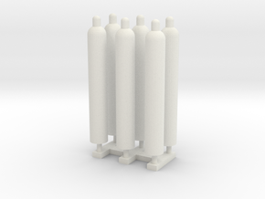 1:50 Gas Cylinders Pack of Six.  in White Strong & Flexible