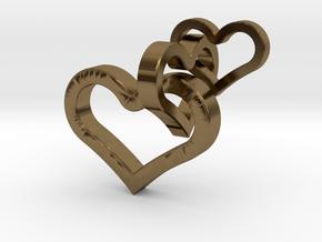 3 hearts pendant in Polished Bronze (Interlocking Parts)