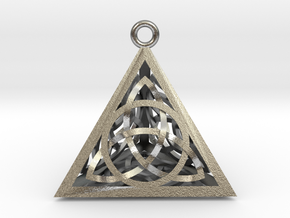 Triquertahedron 1in + Pendant in Natural Silver