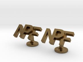 Personalised cufflinks NPF in Natural Bronze