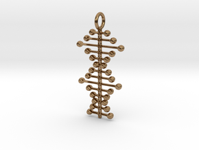 Stylized DNA Pendant in Natural Brass