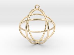 "Genesa Crystal V2 Pendant 1.5"" in 14k Gold Plated Brass"