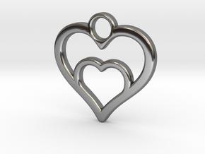 Heart in heart in Premium Silver: Small