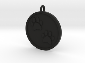 Paw Prints Pendant in Black Natural Versatile Plastic
