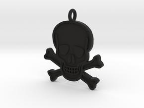 Skull & Crossbones Pendant in Black Natural Versatile Plastic