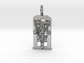 Whovian Semicolon Pendant in Natural Silver