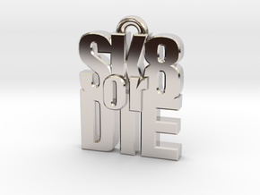 """SK8 or DIE"" earring in Rhodium Plated Brass"