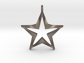 Twisting Star Pendant in Polished Bronzed Silver Steel