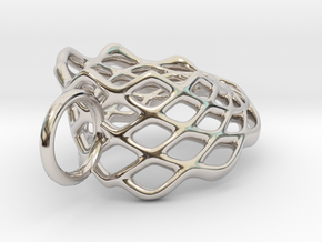 Mobius Mesh (smaller) Pendant in Precious Metals in Rhodium Plated Brass