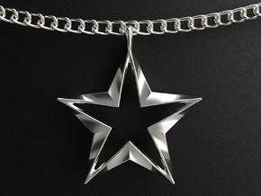 Twisting Star Pendant in Polished Silver