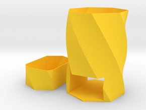 Pen Cup with a Drawer Twist in Yellow Processed Versatile Plastic