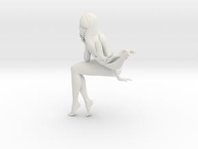 Long hair cartoon girl 003 in White Natural Versatile Plastic