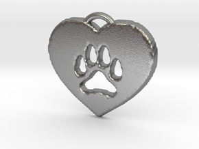 heart paw in Natural Silver