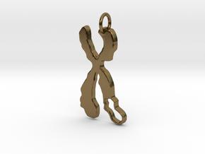 Chromosome Deletion Pendant in Polished Bronze