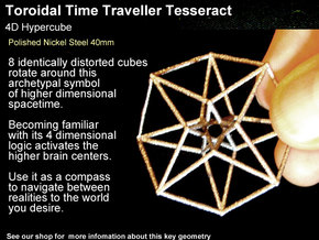 Sacred Geometry: Toroidal Hypercube 40mmx1mm in Polished Nickel Steel