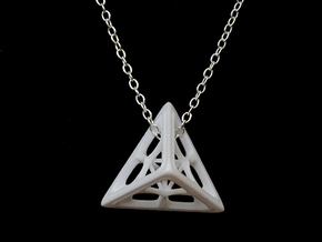 Tetrahedron Pendant in White Strong & Flexible Polished