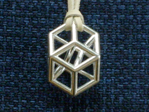 Bilinski Tesseract Pendant in Natural Silver: Large