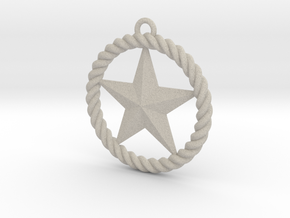 Braided Rope & Star Pendant. 30mm in Natural Sandstone