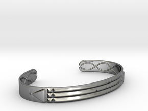 Atlantis Cuff Bracelet in Fine Detail Polished Silver: Small