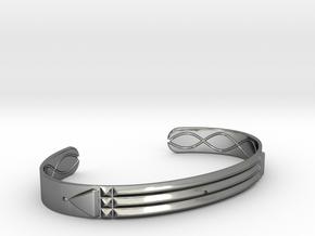 Atlantis Cuff Bracelet in Fine Detail Polished Silver: Small