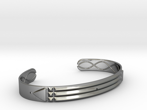 Atlantis Cuff Bracelet in Fine Detail Polished Silver: Large