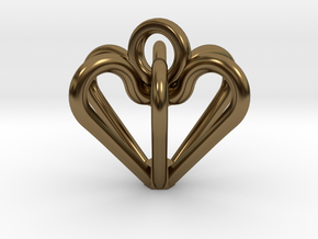 Elegant Heart Pendant  in Polished Bronze