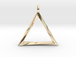 Twisting Triangle Pendant in 14k Gold Plated Brass