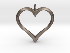 Twisting Heart Pendant in Polished Bronzed Silver Steel