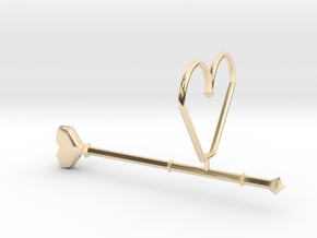 Heart Wand Keychain/necklace Attachment in 14k Gold Plated Brass