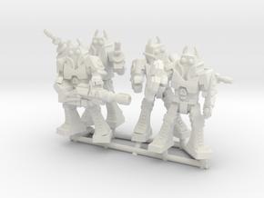 Waruder Battas Squad, set of 4 35mm Minis in White Strong & Flexible