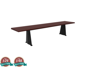 Miniature Trapeze Long Table - Jean Prouve in White Natural Versatile Plastic: 1:24