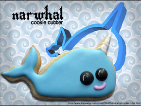 Narwhal Cookie Cutter in White Natural Versatile Plastic