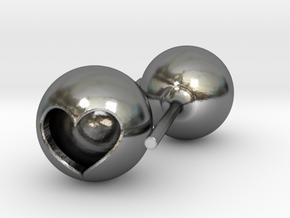 Heart Core Ball Earings in Polished Silver