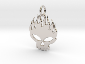 Flaming skull in Platinum