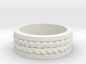 Twisted Ring in White Natural Versatile Plastic