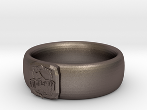Hufflepuff Pride Ring in Polished Bronzed Silver Steel: 7 / 54