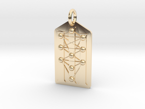 Three Pillars Tree of Life Medallion in 14k Gold Plated Brass