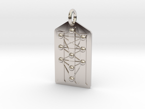 Three Pillars Tree of Life Medallion in Rhodium Plated Brass