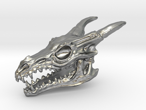 Dragon Skull in Raw Silver