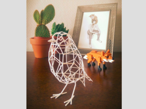 Bird wire frame model (with eyes) in White Natural Versatile Plastic