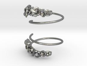 Flower Spiral Earrings in Natural Silver