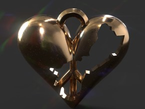 Guam in Heart with Peace Symbol Necklace Pendant in Polished Brass
