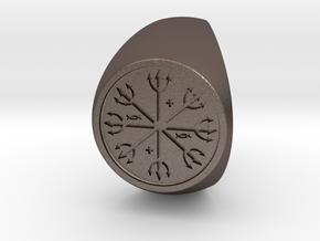 Custom Signet Ring 54 v2 in Polished Bronzed Silver Steel