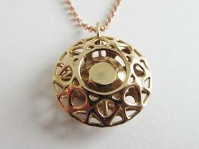 Brilliant diamond pendant in Polished Bronze