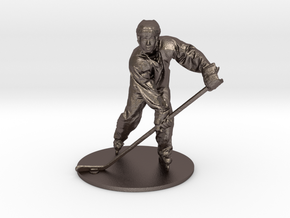 Scanned Hockey Player -13CM High in Polished Bronzed Silver Steel
