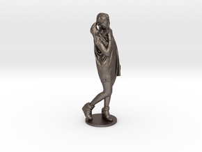 Scanned pretty Girl - 15CM High in Polished Bronzed Silver Steel